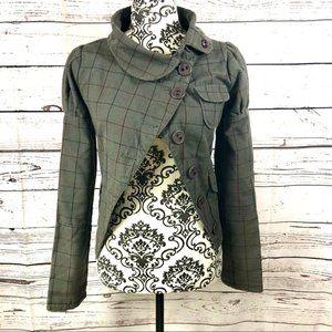 DC Asymmetrical Check Fashion Jacket Grey XS